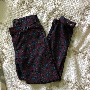 { zara } red paisley print pants